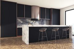 Black and marble kitchen bar side Royalty Free Stock Image