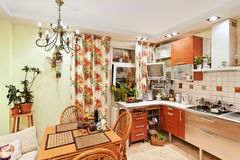 Kitchen interior with wooden furniture Stock Photo