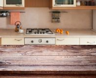 Kitchen interior wooden table royalty free stock photography