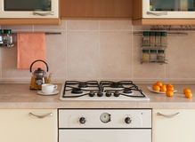 Kitchen interior wooden table Stock Photos