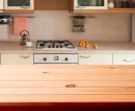 Kitchen interior wooden table Royalty Free Stock Images