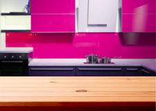 Kitchen interior wooden table Stock Images