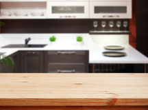 Kitchen interior wooden table Royalty Free Stock Photos