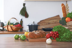 Kitchen interiors. Many vegetables and other meal are ready for been cooked soon Stock Image