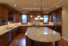 Kitchen Island. New luxury home is ready for sale Stock Photo