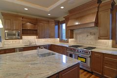 Kitchen Island. Kitchen of a New large American house Royalty Free Stock Image