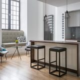 Kitchen island and bar stools stock photo