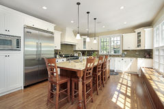 Kitchen with island and bench royalty free stock photography
