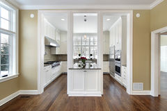 Kitchen and island in new construction home Stock Photos