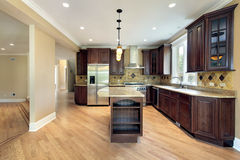 Kitchen and island in new construction home Royalty Free Stock Photos