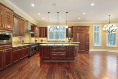 Kitchen and island in new construction home Royalty Free Stock Photo