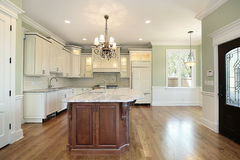 Kitchen and island in new construction home Royalty Free Stock Image