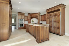 Kitchen and island in new construction home Stock Images
