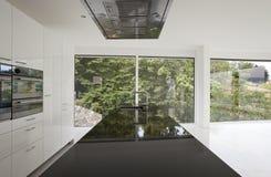 Kitchen island with panoramic windows Royalty Free Stock Photos