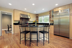 Kitchen with island and stools Royalty Free Stock Image