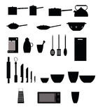 Kitchen items. Set of black kitchen items isolated on white background Stock Photography