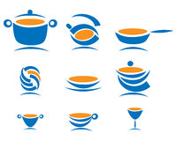 Kitchen items. Blue and orange kitchen items (vector Stock Photography