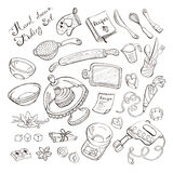 Kitchen items for baking. Baking items doodle set. Kitchen tools hand drawn on chalkboard. Culinary equipment royalty free illustration
