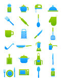 Kitchen items blue-green  icons set. Set of 24 kitchen items blue-green  icons Royalty Free Stock Images