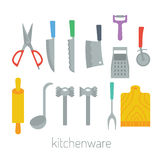 Kitchen items. Kitchenware colorful vector flat design set Stock Images