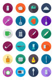 Kitchen items round  icons set. Set of 24 kitchen items round  icons Royalty Free Stock Photo