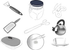 Kitchen items set. Set of 9 kitchen items illustrations ized from owned pictures Vector Illustration