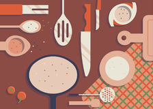 Kitchen items on the table. Vector illustration Royalty Free Stock Images