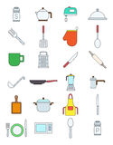 Kitchen items variegated vector icons set. Set of 24 kitchen items variegated vector icons Stock Image