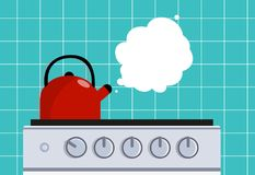 Kitchen kettle on the gas stove. Vector flat illustration. Vector illustration. Painted in shape vector illustration
