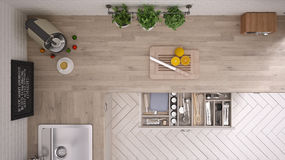 Kitchen with kitchen tools, interior design. Top view Stock Photo