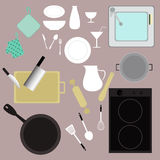 Kitchen kitchenware equipment vector set. Kitchen equipment vector set illustrations Royalty Free Stock Photography