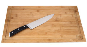 Kitchen knife. Big kitchen knife isolated on a black background Stock Photos