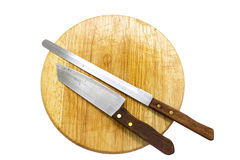 Kitchen Knife on Cutting Block. Kitchen knife on cutting board on white background Royalty Free Stock Photos