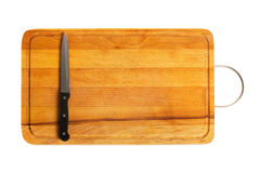 Kitchen knife on cutting board. Isolated on white background Royalty Free Stock Image