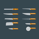 Kitchen knife flat vector. Royalty Free Stock Image
