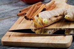 Kitchen knife ginger cinnamon Stock Images