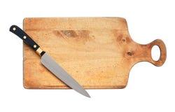 Kitchen Knife On Hardboard Stock Image