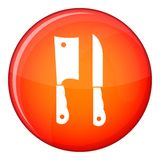 Kitchen knife and meat knife icon, flat style Royalty Free Stock Photo