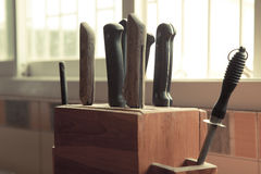 Kitchen knife set Royalty Free Stock Images