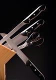 Kitchen knife set. Studio shoot of a knife set on a black background royalty free stock photography