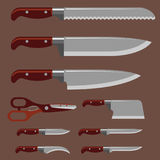 Kitchen knife weapon steel sharp dagger metal military dangerous metallic sword vector illustration Royalty Free Stock Photos