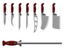 Kitchen knife weapon steel sharp dagger metal military dangerous metallic sword vector illustration Stock Image