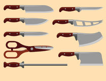 Kitchen knife weapon steel sharp dagger metal military dangerous metallic sword vector illustration Royalty Free Stock Photography