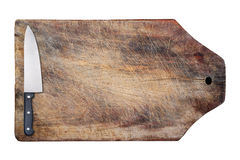 Kitchen knife on wooden table, isolated. Royalty Free Stock Photography