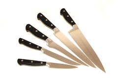 Kitchen  knives. On a white background Royalty Free Stock Image