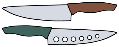 Kitchen knives. Hand drawing of two kitchen knives Stock Photo