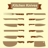 Kitchen Knives icon set Royalty Free Stock Photos