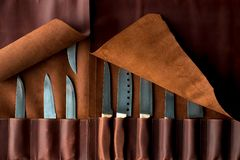 Free Kitchen Knives In A Leather Case Stock Image - 167593331