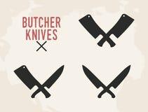 Kitchen knives set. Meat cleaver and kitchen knife. Vintage design. Vector illustration. stock illustration