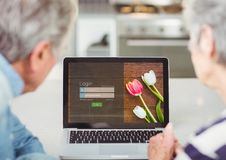 In the kitchen with the laptop. Login screen stock illustration